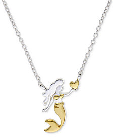 "Unwritten Two-Tone Mermaid 18"" Pendant Necklace in Sterling Silver & Gold Flash"