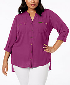 NY Collection Plus Size Tab-Sleeve High-Low Shirt