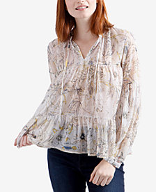 Lucky Brand Floral-Print Tiered Peasant Top