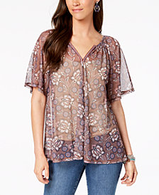 Style & Co Floral-Print Mesh Top, Created for Macy's