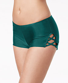 Hula Honey Juniors' Strappy Swim Boy Shorts, Created for Macy's