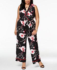 Monteau Trendy Plus Size Floral-Print Jumpsuit