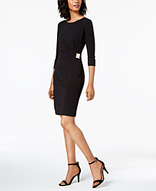 Jessica Howard Ruched Hardware-Embellished Sheath Dress