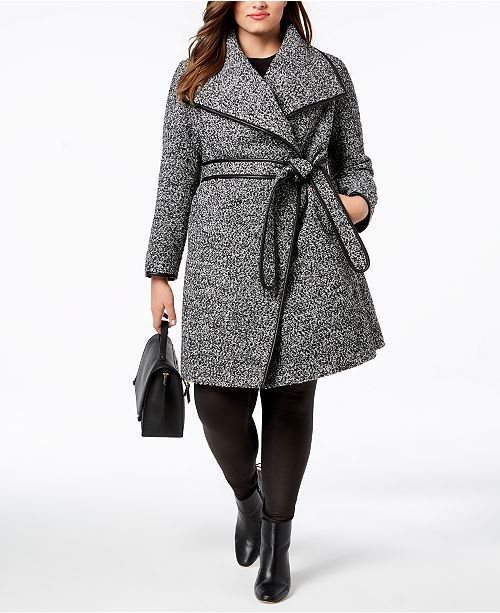 ecf03644cef ... DKNY Plus Size Faux-Leather-Trim Wrap Coat