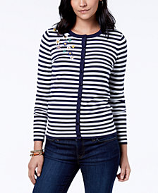 Charter Club Embellished Striped Cardigan, Created for Macy's