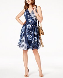 I.N.C. Ruffled Mixed-Print Dress, Created for Macy's