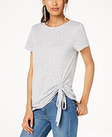 I.N.C. Petite Tie-Hem T-Shirt, Created for Macy's