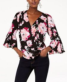 I.N.C. Floral-Print Bell-Sleeve Top, Created for Macy's