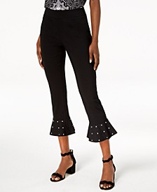 INC Petite Studded Ruffle-Hem Pants, Created for Macy's