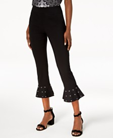 I.N.C. Petite Studded Ruffle-Hem Pants, Created for Macy's