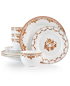 CLOSEOUT! Martha Stewart Collection Sepia 12-Pc. Dinnerware Set, Created for Macy's