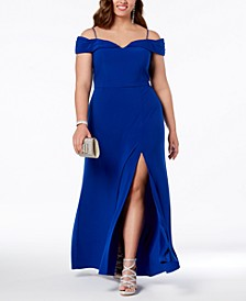 Trendy Plus Size Off-The-Shoulder Gown