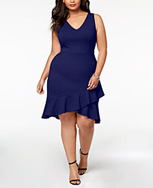 Soprano Trendy Plus Size Ruffle-Hem Dress