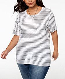 Hybrid Plus Size Striped T-Shirt