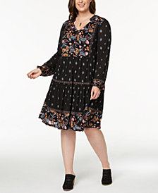 Style & Co Plus Size Mixed-Print Peasant Dress, Created for Macy's