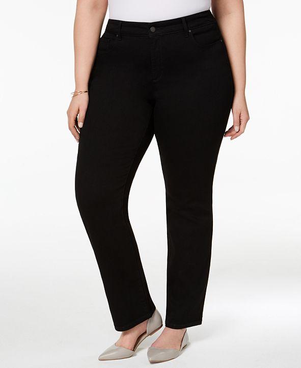 Charter Club Plus Size Lexington Tummy-Control Straight-Leg Jeans, Created for Macy's
