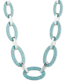 "Lauren Ralph Lauren Silver-Tone Colored Acetate Stone Link 22"" Statement Necklace"