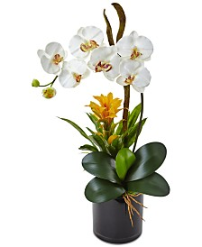 Nearly Natural Orchid and Bromeliad Artificial Arrangement in Glossy Black Cylinder Vase