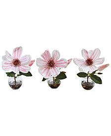 Nearly Natural 3-Pc. Magnolia Artificial Arrangement Set in Glass Votive Vases