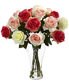 Nearly Natural Assorted Blooming Roses Artificial Arrangement in Glass Vase