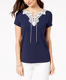 Charter Club Lace-Up T-Shirt, Created for Macy's