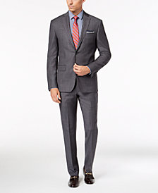 DKNY Men's Slim-Fit Gray Blue Tic Suit Separates