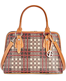 Giani Bernini Plaid Block Signature Dome Satchel, Created for Macy's