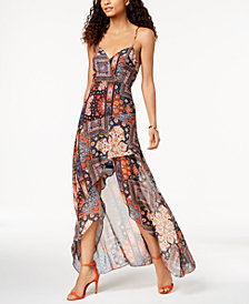 BCBGeneration Printed High-Low Maxi Dress