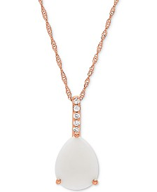 """Opal (1-1/3 ct. t.w.) & Diamond Accent 18"""" Pendant Necklace in 14k Rose Gold"""