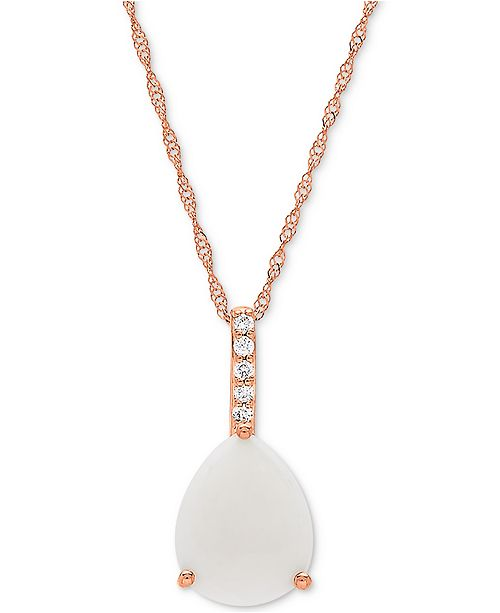 "Macy's Opal (1-1/3 ct. t.w.) & Diamond Accent 18"" Pendant Necklace in 14k Rose Gold"