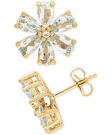 Aquamarine (2-1/6 ct. t.w.) & Diamond Accent Stud Earrings in 14k Gold