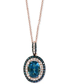 "EFFY® London Blue Topaz (1-1/2 ct. t.w.) & Diamond (1/4 ct. t.w.) Oval 18"" Pendant Necklace in 14k Rose Gold"