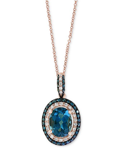 "EFFY Collection EFFY® London Blue Topaz (1-1/2 ct. t.w.) & Diamond (1/4 ct. t.w.) Oval 18"" Pendant Necklace in 14k Rose Gold"