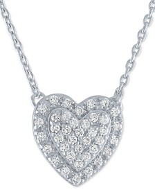 "Diamond Pavé Heart Pendant Necklace (1/5 ct. t.w.) in Sterling Silver, 16"" + 2"" extender"