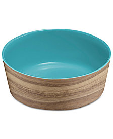 TarHong Faux Natural Acacia Wood & Capri Medium Melamine Pet Bowl