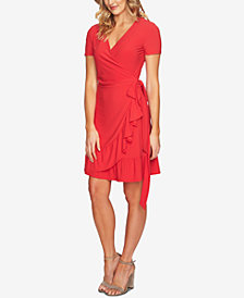 CeCe Ruffle-Hem Wrap Dress