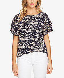 CeCe Floral-Print Tiered-Ruffle Sleeve Top