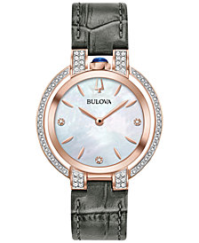 Bulova Women's Rubaiyat Diamond (1/3 ct. t.w.) Gray Leather Strap Watch 35mm