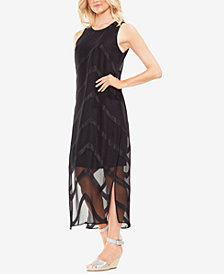 Vince Camuto Sheer Chevron-Overlay Maxi Dress