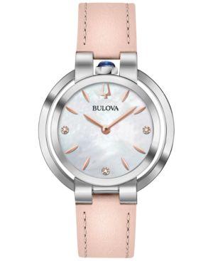 BULOVA Women'S Diamond-Accent Rubaiyat Pink Leather Strap Watch 35Mm in White