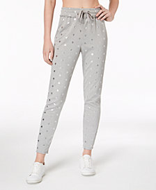 Material Girl Juniors' Metallic Star-Print Jogger Pants, Created for Macy's