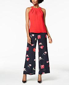 Nine West Crepe Halter Shell & Floral-Print Pants