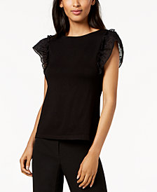 Anne Klein Swiss-Dot Flutter-Sleeve Top