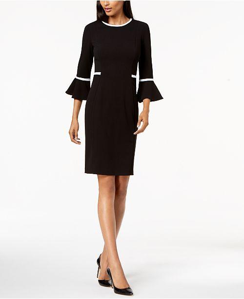 1fd8b6cc294b31 Calvin Klein Petite Piped Bell-Sleeve Sheath Dress   Reviews ...