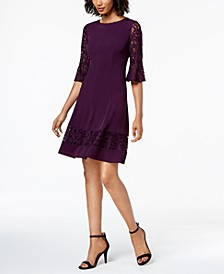 Petite Lace-Sleeve A-Line Dress