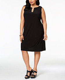 MSK Plus Size Sleeveless Three-Ring Dress