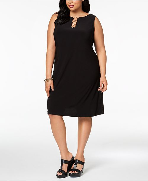 MSK Plus Size Sleeveless Three-Ring Dress & Reviews ...