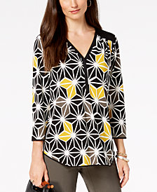 Alfani Printed Y-Neck Top, Created for Macy's