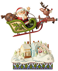 Jim Shore Rudolph Pulling Santa on Sleigh Figurine