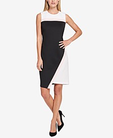 Scuba Asymmetrical Hem Sheath Dress